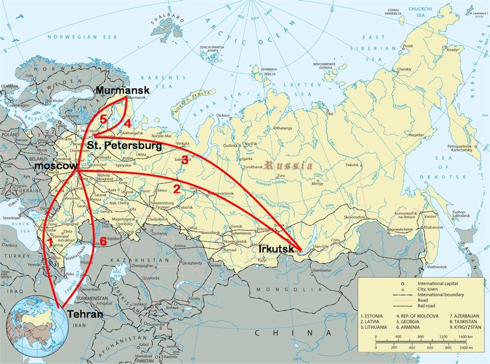 نقشه سفر روسیه