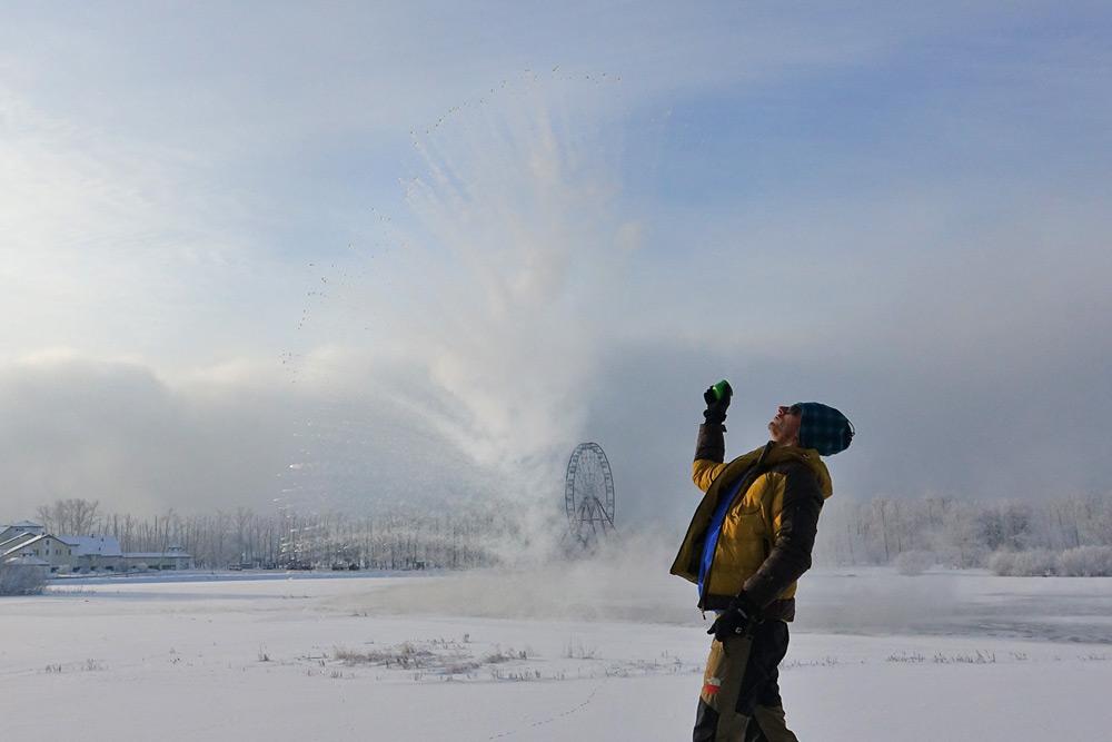 تبخیر آب جوش در هوای سرد