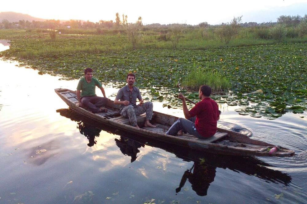 قایق سواری در میان نیلوفر آبی