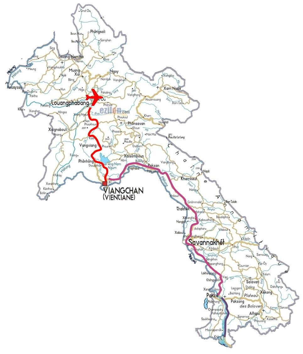 نقشه مسیر سفر لائوس