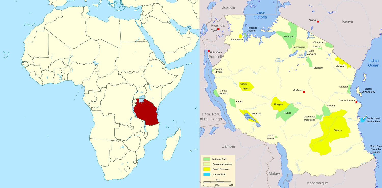 نقشه تانزانیا
