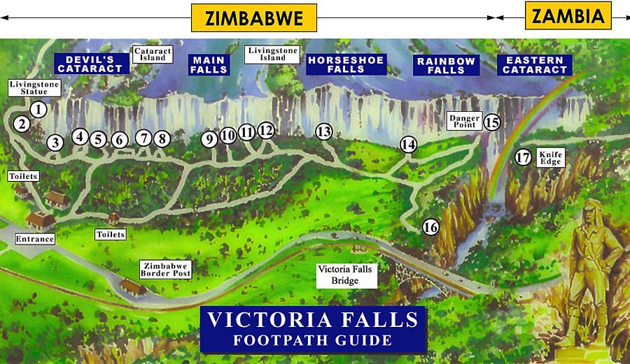 نقشه آبشار ویکتوریا