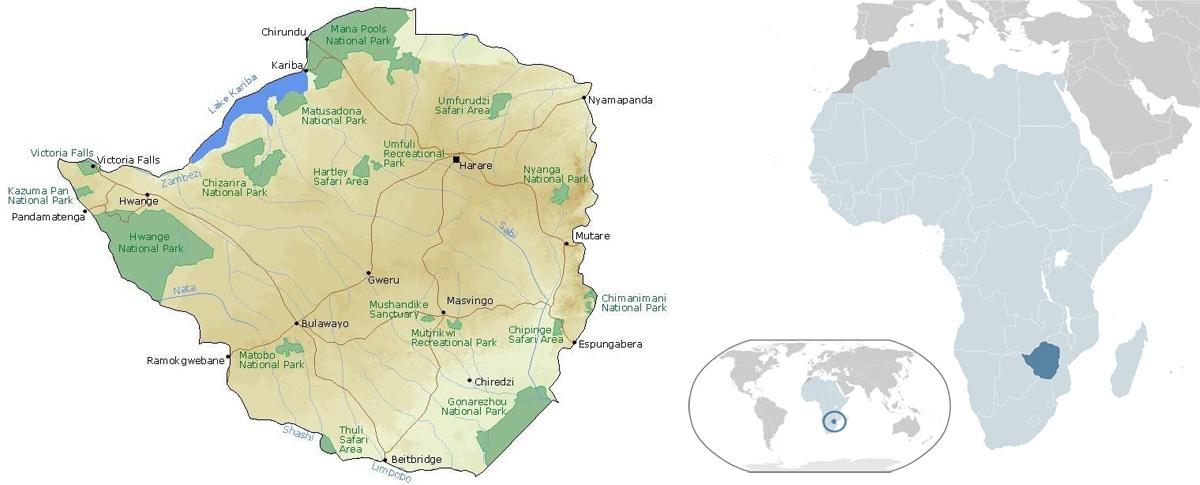 نقشه زیمبابوه