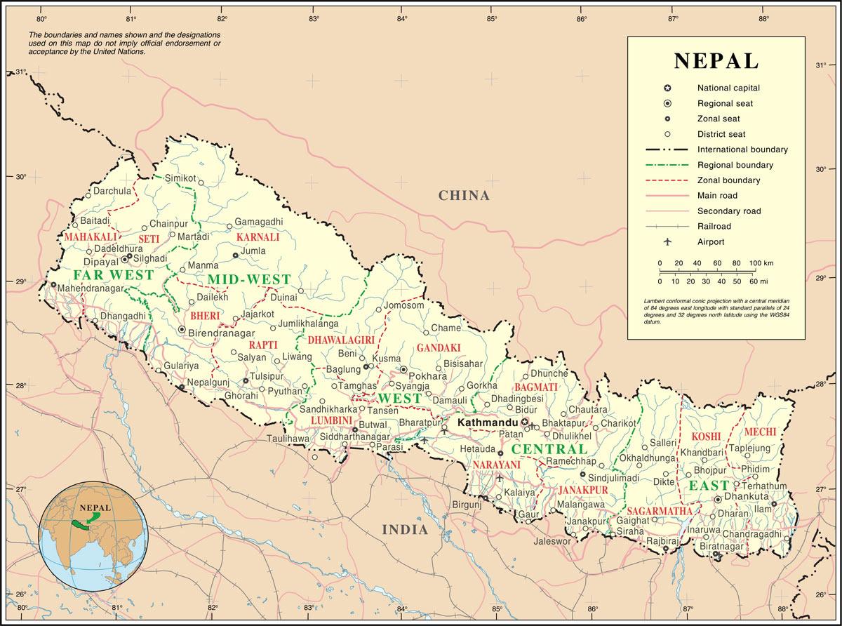 نقشه نپال